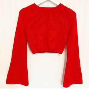 PRINCESS POLLY cropped chunky knit bell sleeve crewneck sweater red size 12/8
